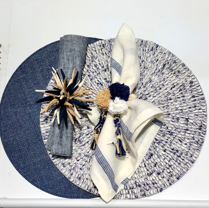 Kim Seybert Provence placemat, Wales napkin with Quill ring, Jackson placemat, Provence napkin with Fiesta ring