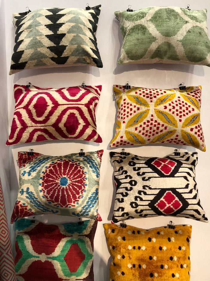 Les Ottomans ikat cushions at NY Now Spring 2018