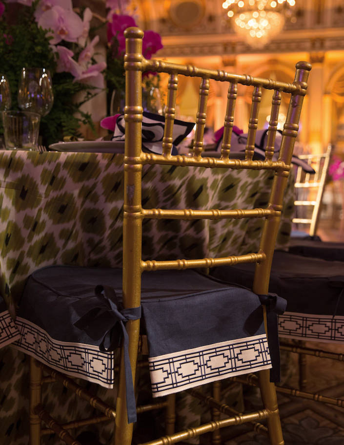 Samuel and Sons trim on Ashley Whittaker chairs at the NYBG Orchid Dinner 2018