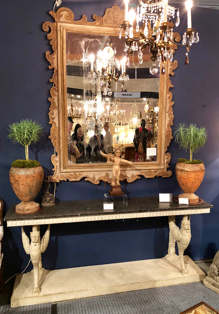 Sherwood Antiques mirror and console at 2018 Antiques & Garden show Nashville