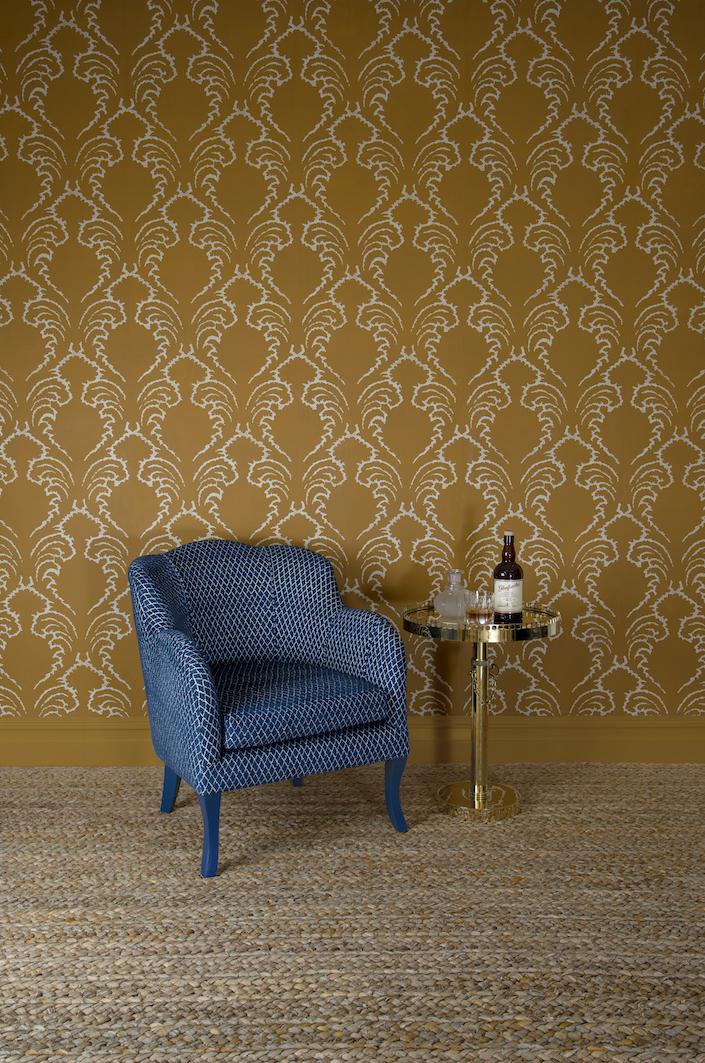 Soane Spring 2018 Scalloped Armchair Pineapple Frond Wallpaper