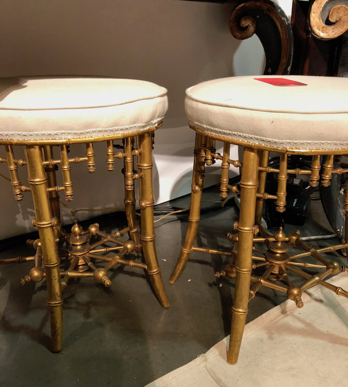 chinoiserie stools at Kevin Perry at the 2018 Antiques & Garden Show Nashville