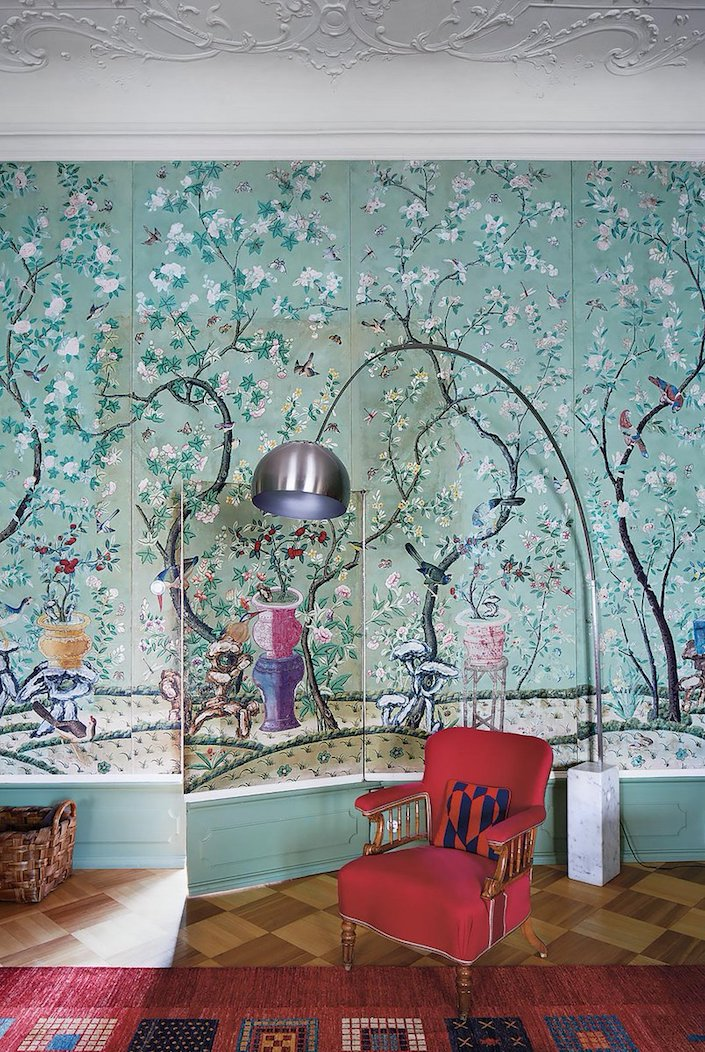 18th c. wallpaper and Achille Castiglioni Arco lamp at Schloss Hollenegg, photo by Simon Watson for T Magazine