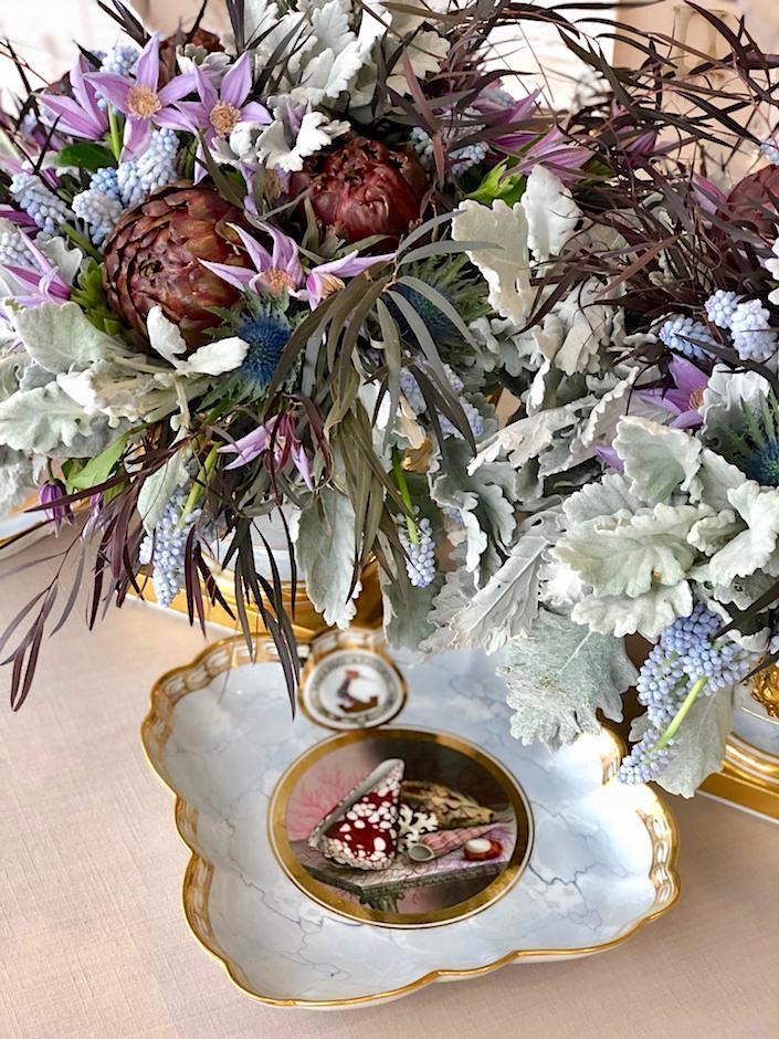 Kevin Sharkey arrangement in antique Worcester at Christie's Martha Stewart lunch