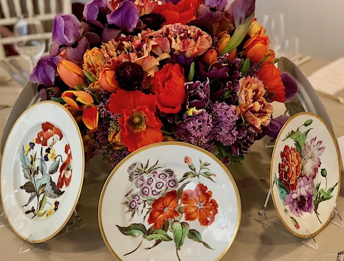 Kevin Sharkey floral arrangement with 1815 Derby porcelain at Christie's Martha Stewart lunch
