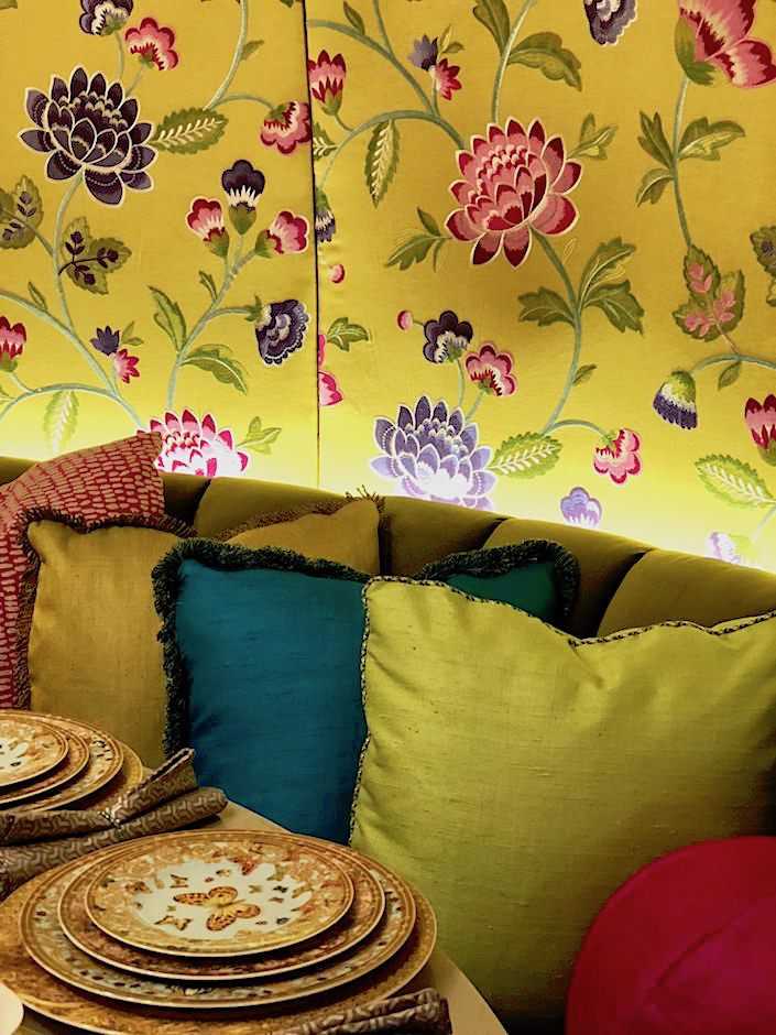 Manuel Canovas fabric in Wesley Moon Dining by Design space