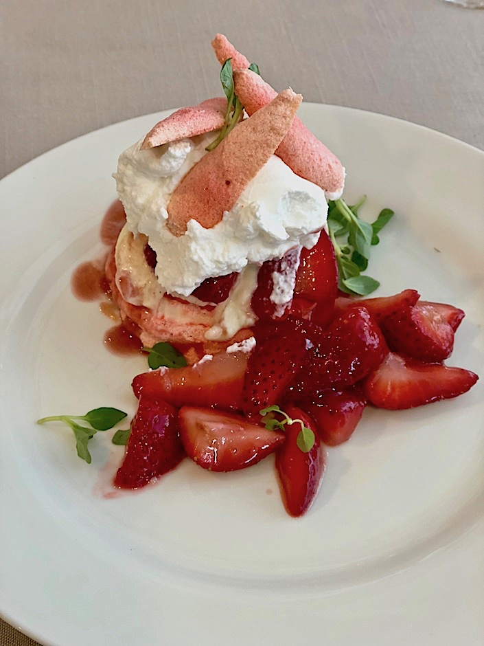 Meringue with strawberries at Martha Stewart Christie's lunch