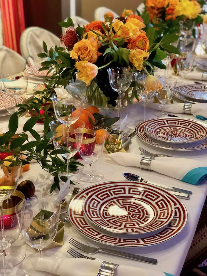 Peter Pennoyer Dining by Design with Fleurisa floral arrangements