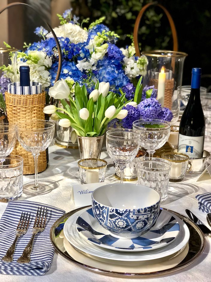 Ralph Lauren blue and white Dining by Design 2018 table
