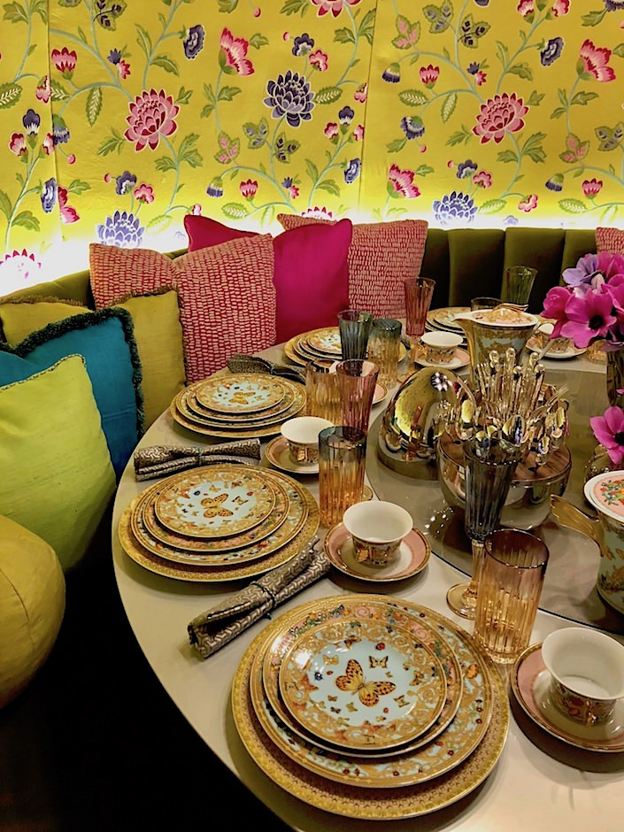 Versace china in Wesley Moon Dining by Design 2018 space