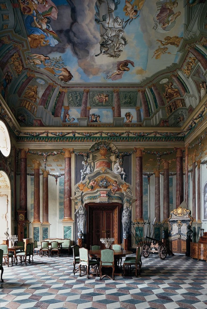 frescoed walls in Schloss Hollenegg ballroom photo Simon Watson for T Magazine