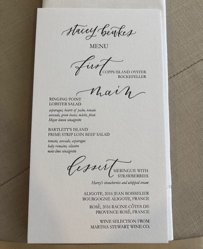 menu at Martha Stewart Christie's lunch