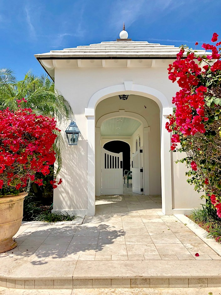 tropical Florida arched entry with bougainvillea