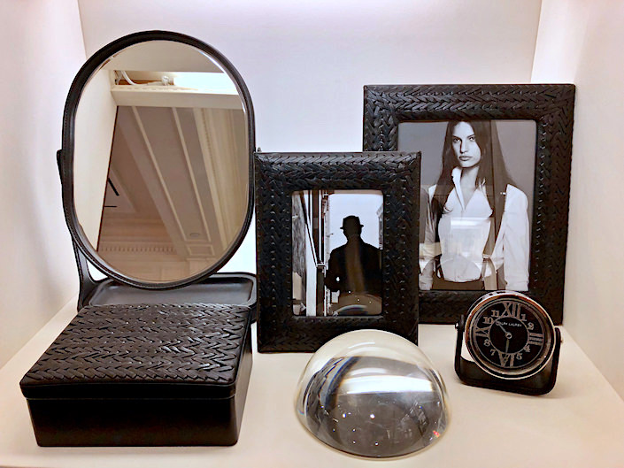 Ralph Lauren Home Brennan leather Vanity Mirror and Adrienne woven leather frames and box