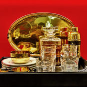 Ralph Lauren Home Wyatt Gold Serveware and Greenwich crystal