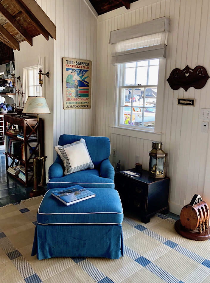 Nantucket boathouse corner, designed by Gary McBournie