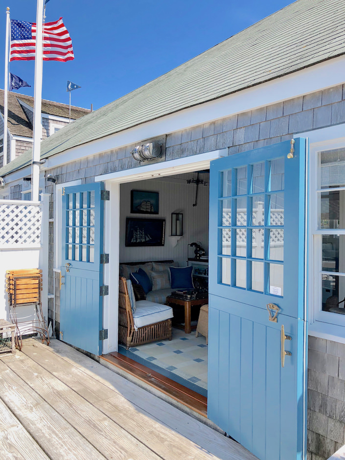 Nantucket boathouse deck doors