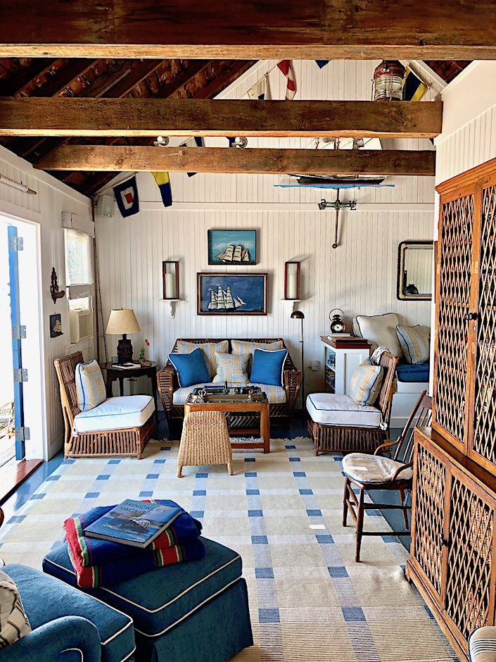 Nantucket boathouse decorated by Gary McBournie