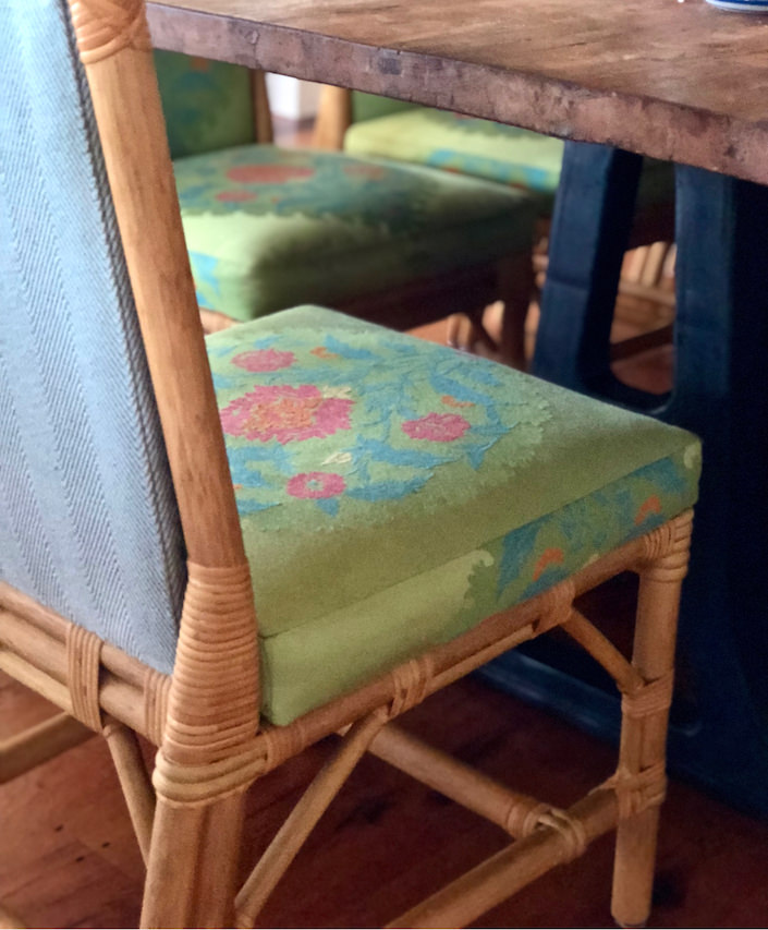 chair upholstery by Jeffrey Bilhuber in Nantucket beach house