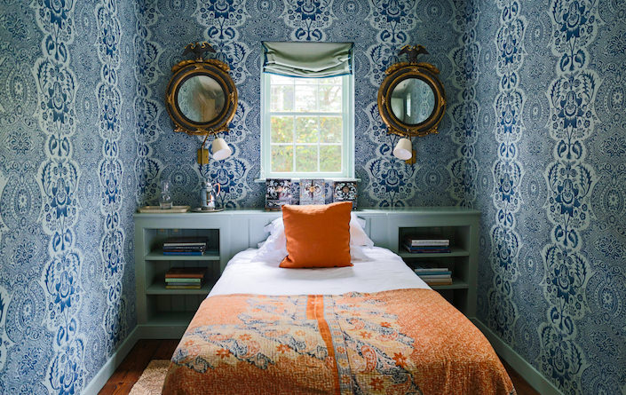 Gil Schafer designed bedroom in The Power of Pattern by Susanna Salk, photo by Stacey Bewkes