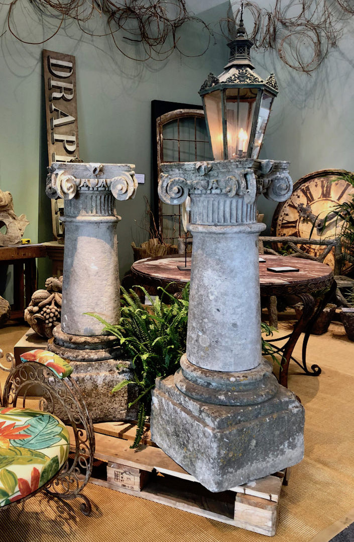 19th c. English stone colums from Finnegan Gallery at the San Francisco Fall Art and Antiques Show