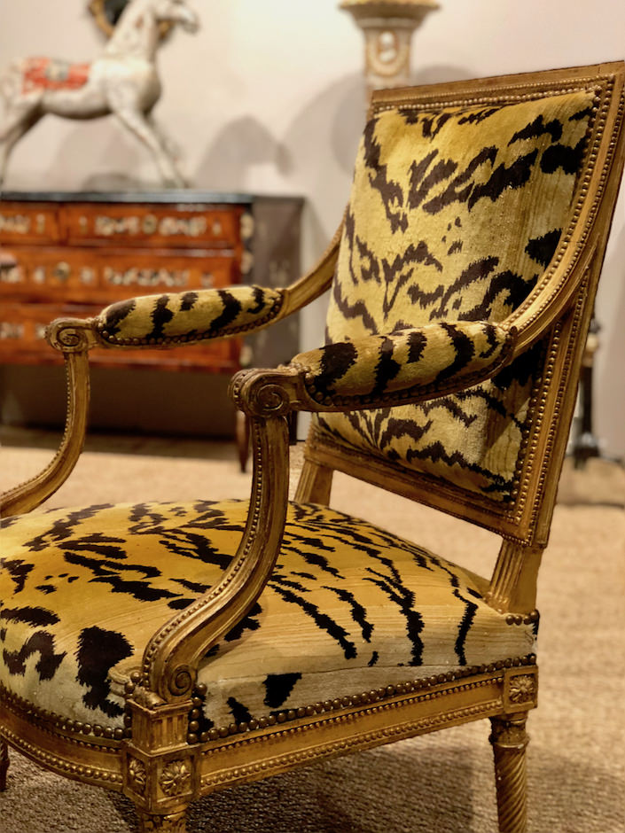Louis XVI giltwood chairs by Jacob at Yew Tree House Antiques at the San Francisco antiques show
