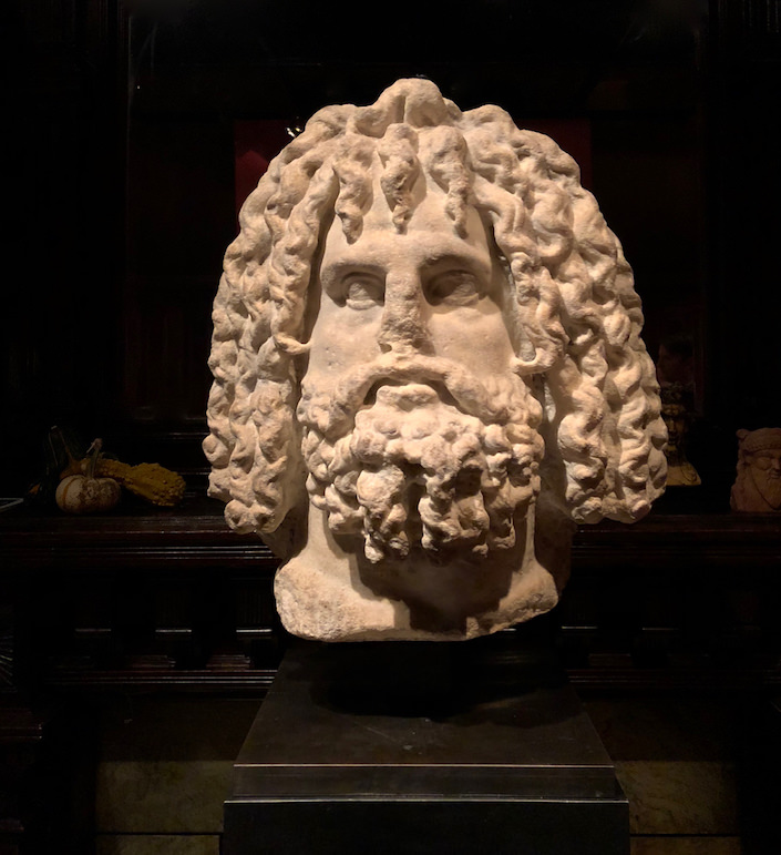 Roman 2nd century AD marble head of Serapis at Galerie Chenel