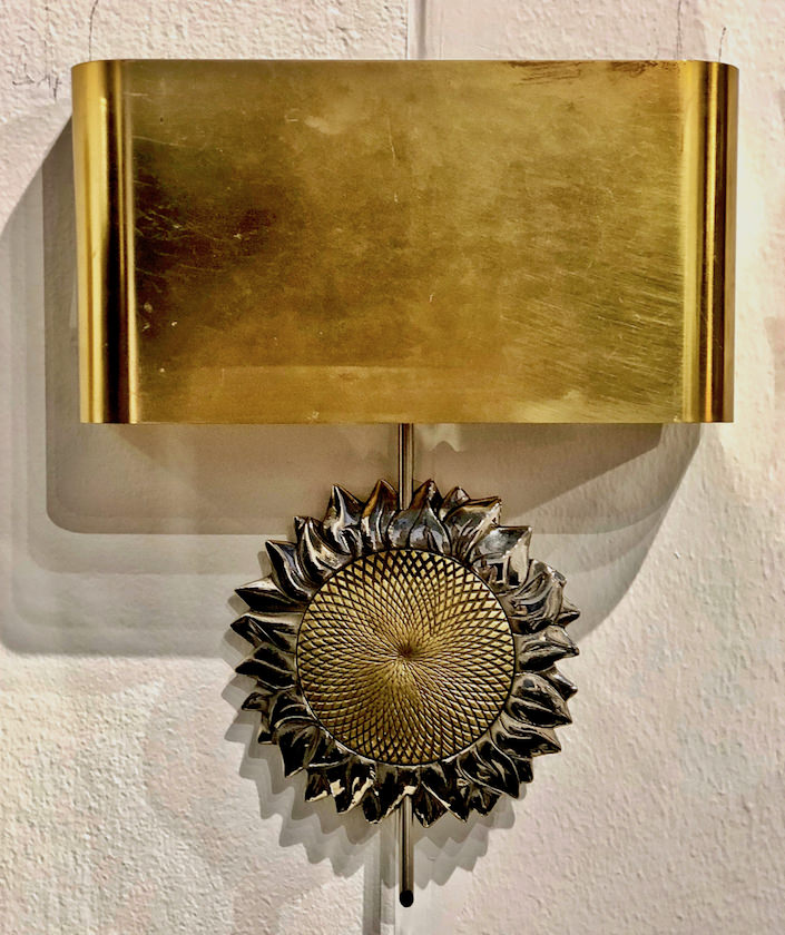 sunflower sconces by Maison Charles from Guy Regal at teh San Francisco antiques show