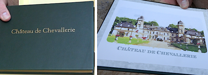 Bespoke Designs of Westport guest book for Chateau de la Chevallerie