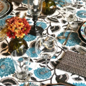 Thanksgiving table, Peter Fasano tablecloth and napkins copy