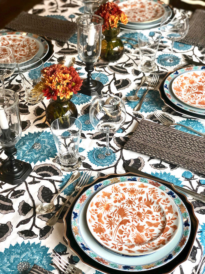 Thanksgiving table, Peter Fasano tablecloth and napkins