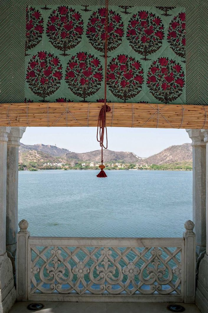 Brigitte Singh fabric at Jal Mahal, photo by Henry Wilson