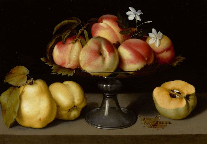 Fede Galizia's A Glass Compote with Peaches, Jasmine Flowers, Quinces and A Grasshopper at Sotheby's