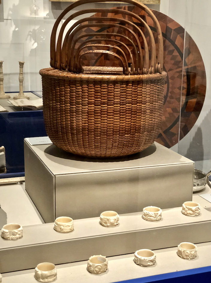 Nantucket baskets and ivory napkin rings at the NHA loan expedition at the 2019 Winter Show