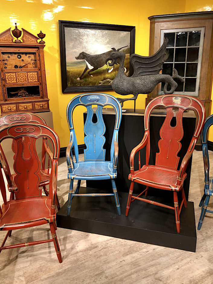 captain chairs and gargoyle weathervane at Kelly Kinzle Winter Show 2019 booth