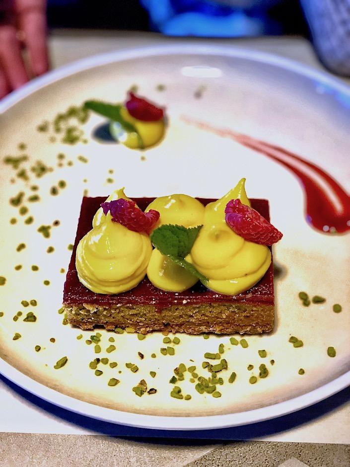 pistachio cake at San Patrignano restaurant