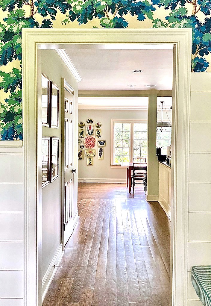 View toward kitchen with John Derian Picture Book Project via Quintessence
