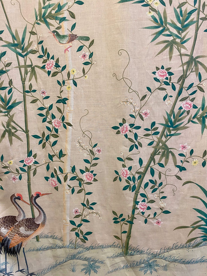 Gracie Bamboo Grove linen fabric via Quintessence