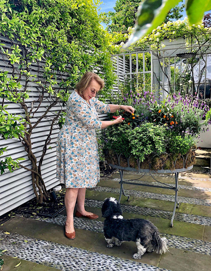 In London with Nina Campbell and dog Theo in her garden via Quintessence