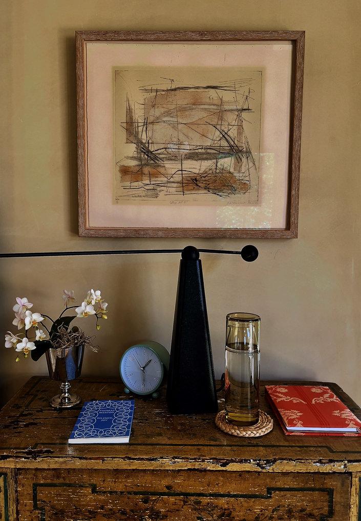 Suzanne Rheinstein artwork on paper in Montecito bedroom