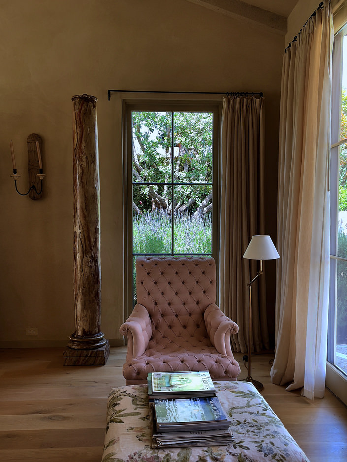 Suzanne Rheinstein Montecito bedroom via Quintessence