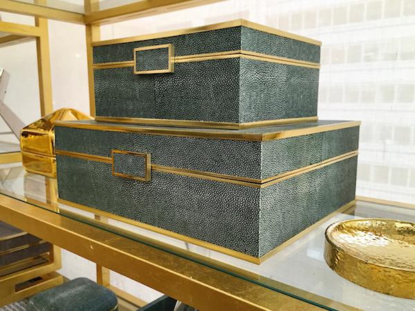 AERIN fall 2015 emerald shagreen jewelry boxes Quintessence