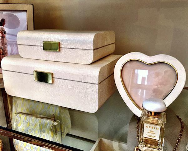 AERIN shagreen jewelry boxes cream Quintessence