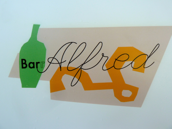 Bar Alfred logo in Doug Meyer Legends window