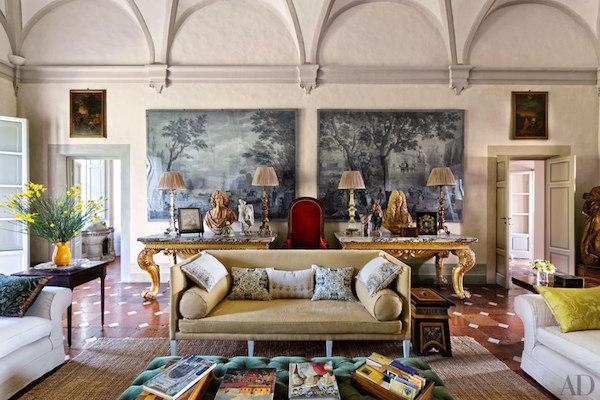 Camilla Guinness interiors of Italian villa, photo Oberto Gili for AD