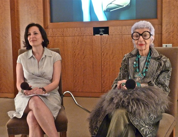 """Iris Apfel and Veranda editor-in-chief Dara Caponigo, as part of the Hearst Design Group """"best of"""" lecture series, benefitting the Kips Bay Boys & Girls Club and hosted by Sotheby's."""