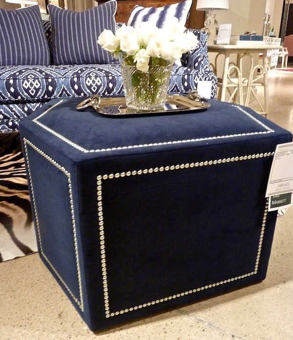 Blue fabric ottoman at Drexel heritage