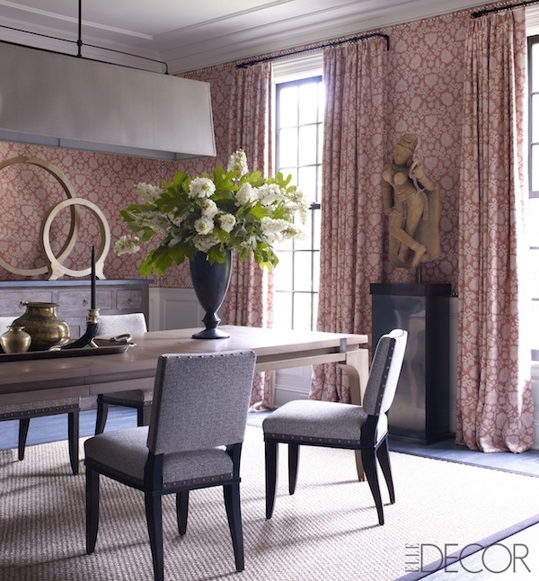 Enveloping Upholstered Walls And Curtains In A Rogers Goffigon Print Are Tempered By Thom S Modern Dining Table Elle Decor