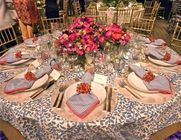 Kim Seybert napkins for the Lenox Hill Neighborhood House gala