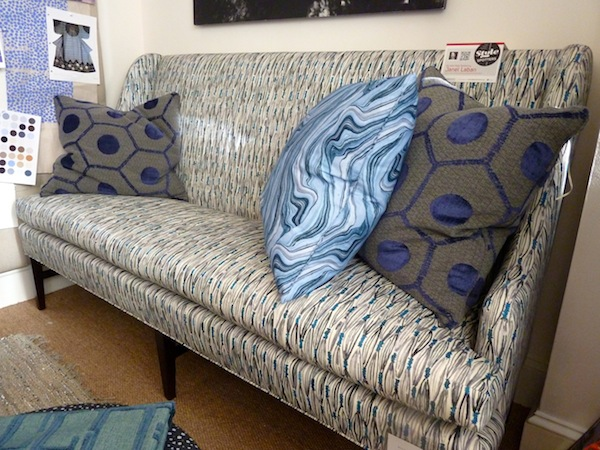 Blue textiles by Hable textiles for Hickory Chair's fall 2012 collection